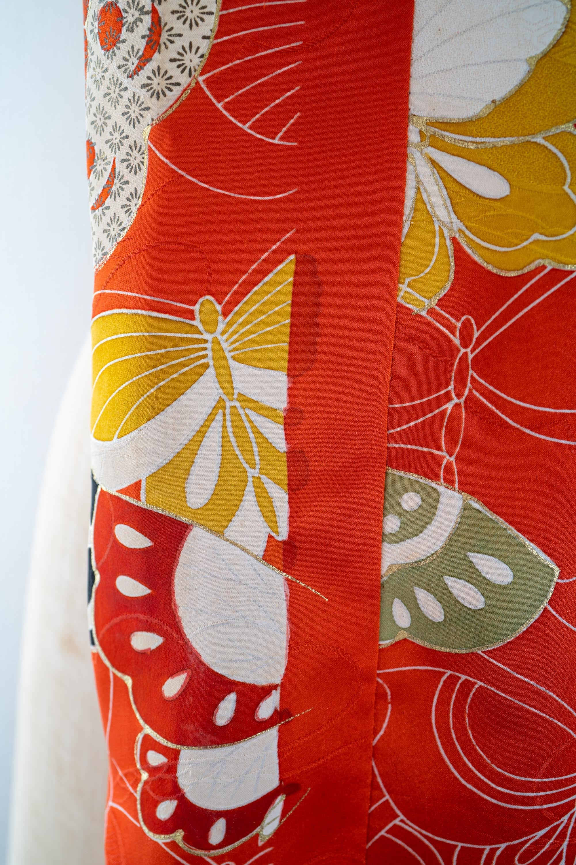 Silk Furisode Rectangle Scarf - Upcycled Japanese Formal Women's Kimono Butterflies Orange Écharpe Sciarpa Schal Skjerf Bufanda