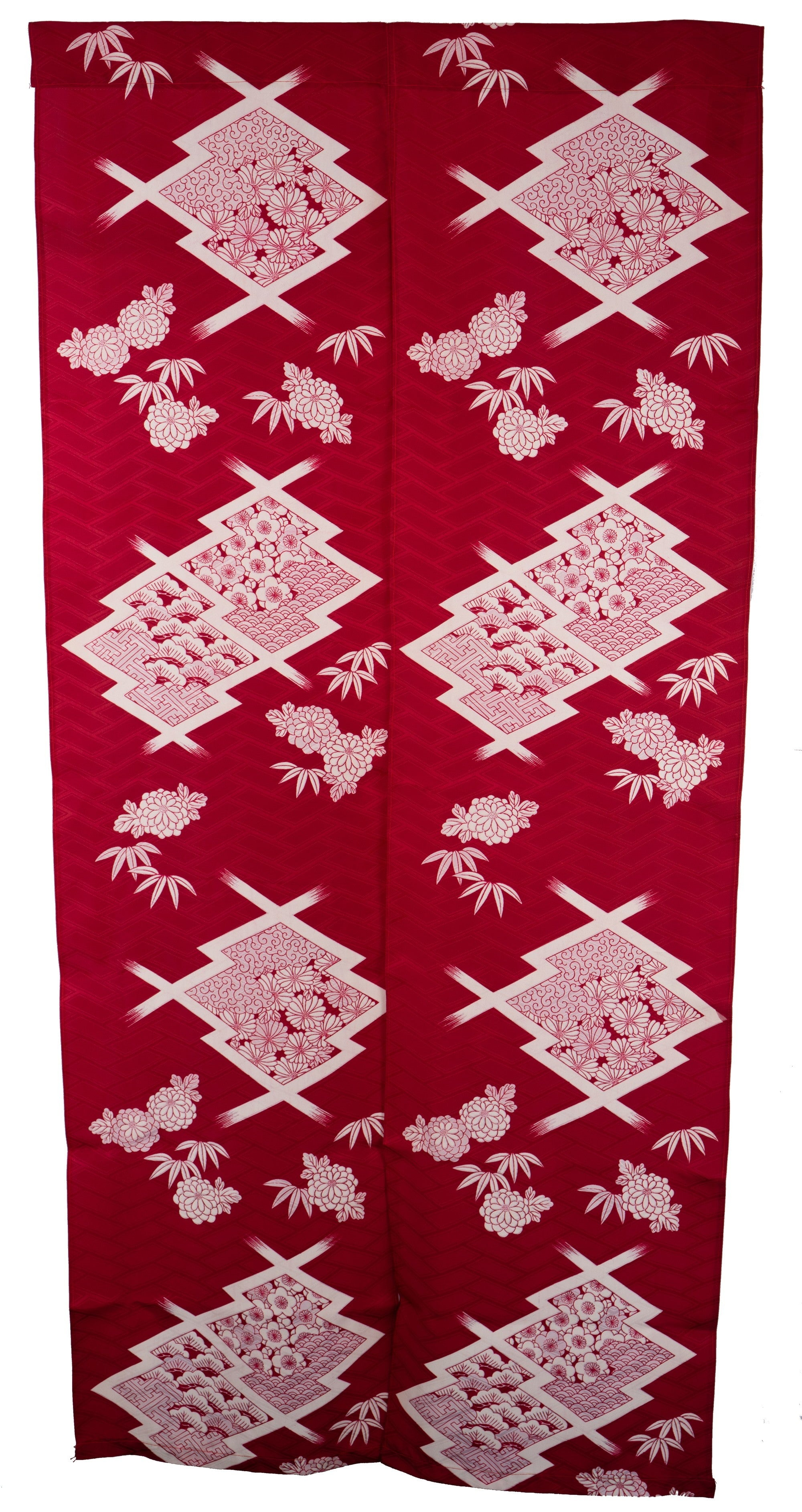 Long Polyester Kimono Noren - Waves, Clouds, Flowers, Chrysanthemums, Cherry Blossoms, Leaves, Geometric Patterns, Buddhist
