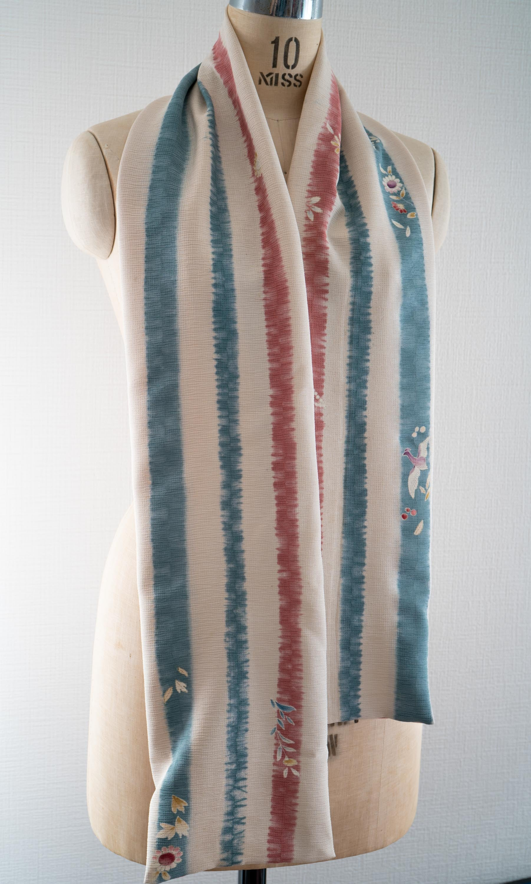 Striped Floral Kimono Scarf Upcycled Silk Japanese Robe Rectangle Scarves White Blue Red Stripes Made In Kyoto Japan Heron Birds