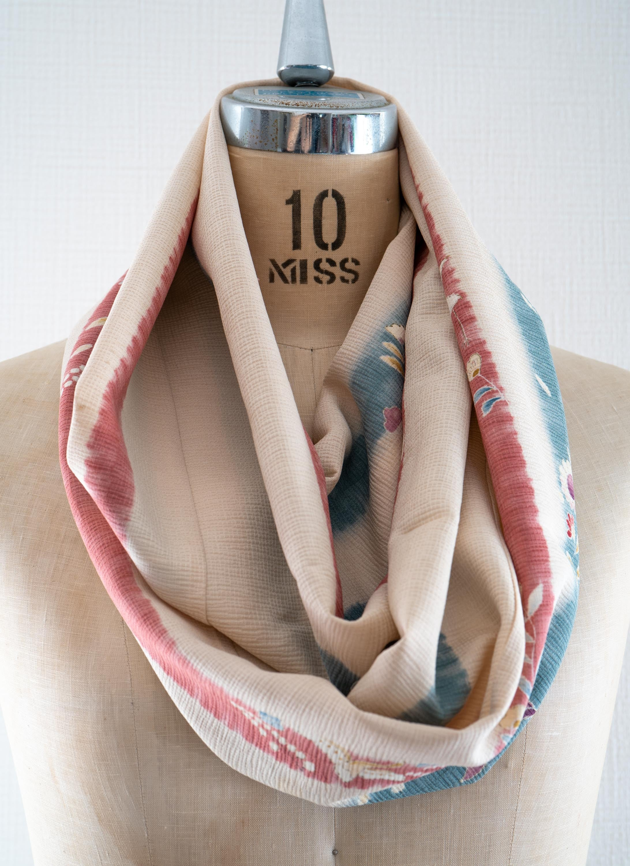 Striped Floral Kimono Scarf Upcycled Silk Japanese Robe Infinity Scarves White Blue Red Stripes Made In Kyoto Japan Heron Birds