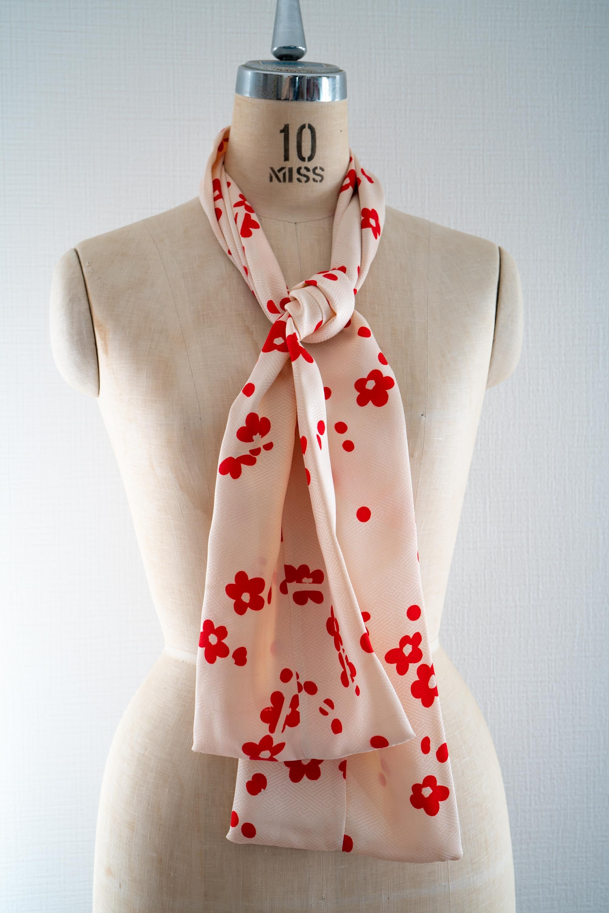 Sakura Spring Hanami Lightweight Silk Scarf Sustainable Fashion Upcycled Japanese Kimono White with Red Cherry Blossom Rectangle