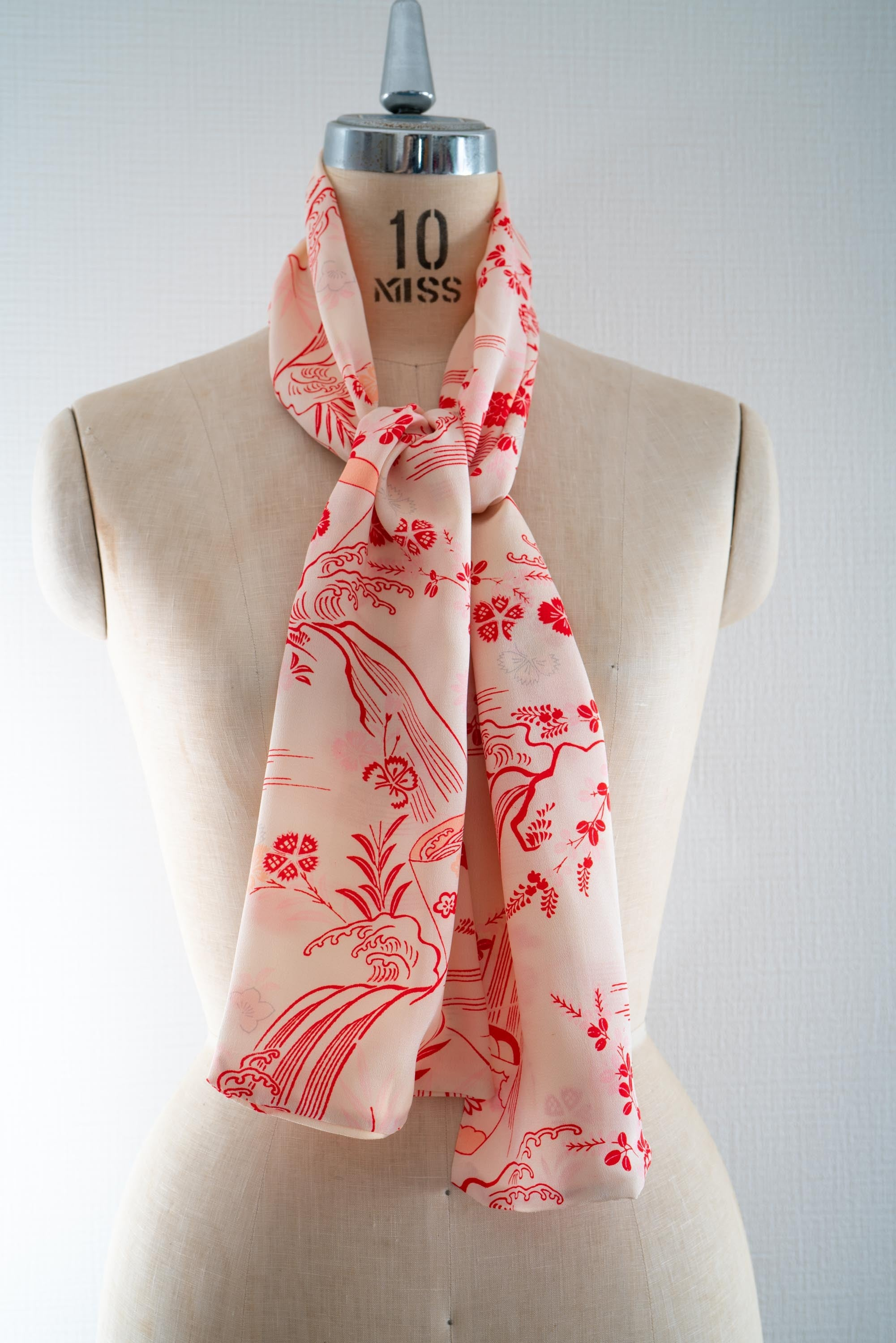 Outdoors Waves Flowers Super Lightweight Upcycled Kimono Rectangle Scarf - Handmade in Kyoto Japan Red Outlines on White Silk