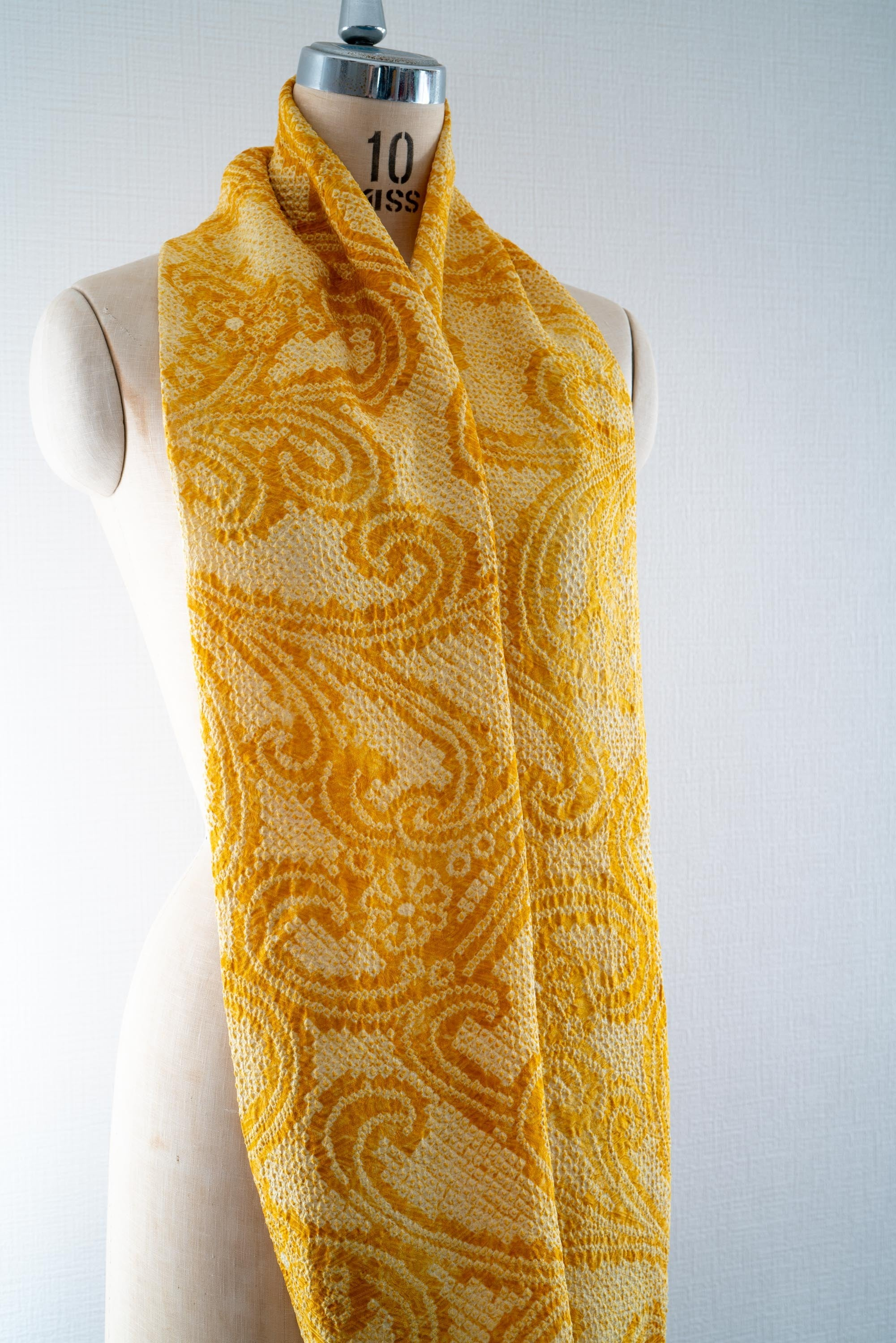 Upcycled Shibori Kimono Silk Scarf - Yellow Sustainable Fashion Traditional Japanese Tie Dye Floral Patterns Infinity Scarves