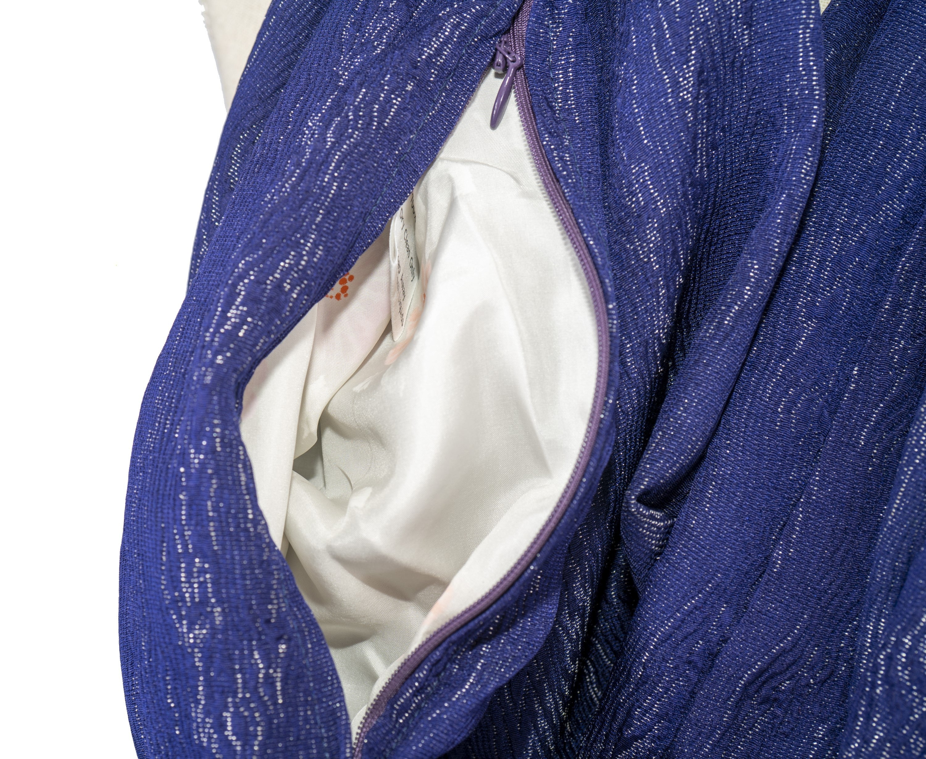 XL 10 Foot Long Soft Kimono Infinity Scarf with Pocket - Purple & Shiny Silver - Pure Japanese Silk - Upcycled Vintage Kimono