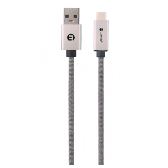 BRAIDED TYPE-C SYNC & CHARGE CABLE 2.0 METER SILVER