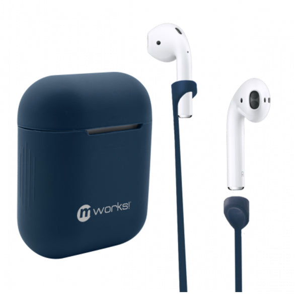 AIRPODS CASE SKIN AND AIRPODS STRAPS BUNDLE NAVY BLUE
