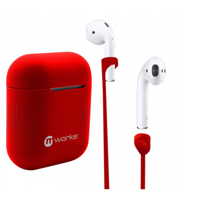 AIRPODS CASE SKIN AND AIRPODS STRAPS BUNDLE RED