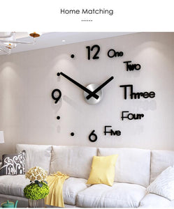 DIY 3D Mirror Stickers Decor Frameless Wall Clock