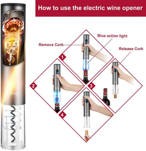 Electric Wine Opener Set with Charger and Batteries