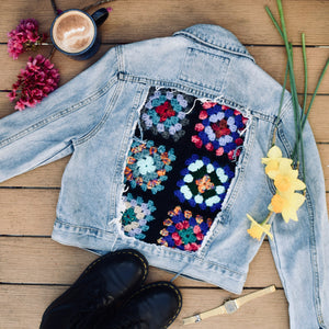 The Denim Granny Square Jacket | Handmade One of a Kind Jacket