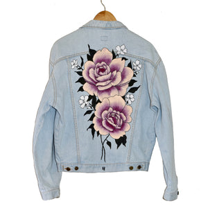 Roses Denim Jacket | Hand Painted and Embroidered Artwork