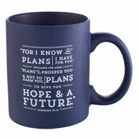 Christian Art Gifts 367210 Mug - I Know The Plans - Blue