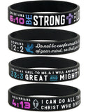 "Power of Faith"" Bible Verse Wristbands - Christian Religious Jewelry Gifts"""
