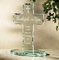 Autom Glass Thankful for You Standing Cross, 7 1/2 Inch