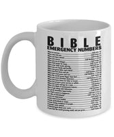 Mug Bible - Emergency Number Quote Christian Verse Coffee Cup - Funny Travel Gift for Grandma Grandpa Men Dad Women Mom - 11 Oz White Ceramic