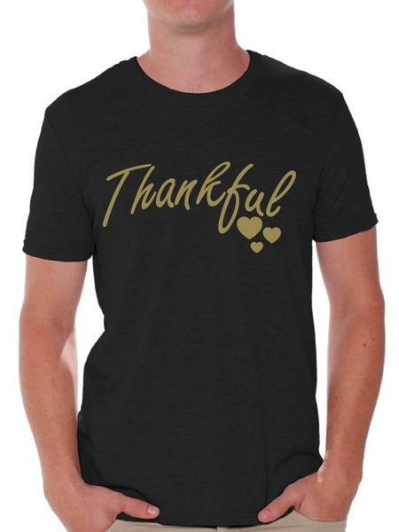 Awkward Styles Thankful Shirt Christmas T Shirt Holiday Top Thanksgiving Holiday Shirt Thankful Grateful Blessed Christmas Tshirts for Men Christian Holiday Tee Religious Gift Men's Thanksgiving Shirt