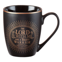 "Christian Encouragement Gifts for Men – Matte Black Coffee Mug w/Metallic Font Scripture Verses ""The Lord is with Me"" Jeremiah 20:11 – 12oz Stoneware Mug, Christian Cup w/Handle"