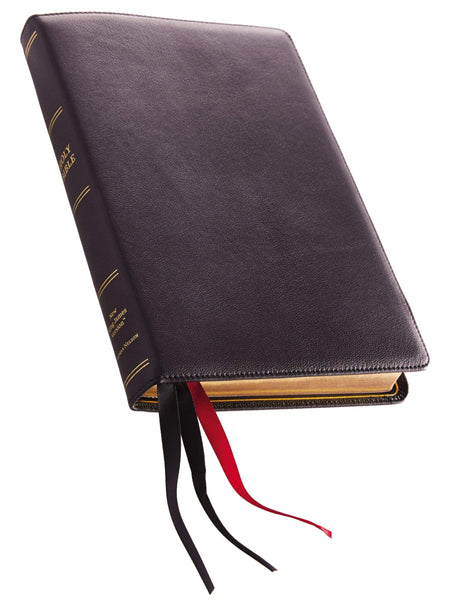 NKJV, Thinline Reference Bible, Large Print, Premium Goatskin Leather, Black, Premier Collection, Comfort Print: Holy Bible, New King James Version