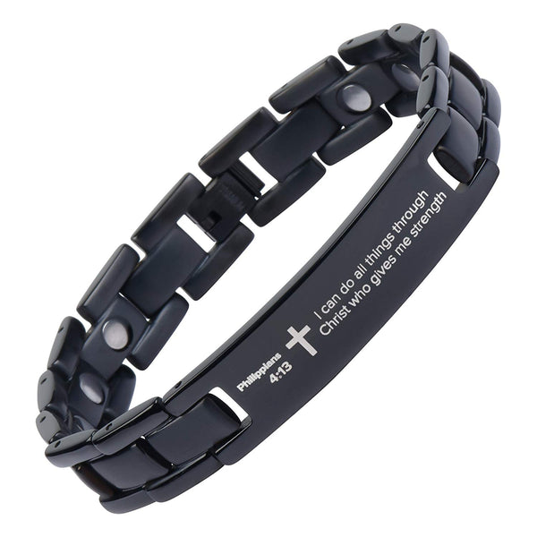 Crosstraxx Philippians 4:13 - Titanium Prayer Bracelet - Magnetic Therapy - Adjustable