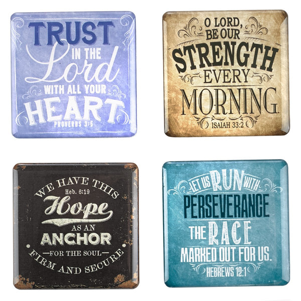 Christian Art Gifts Vintage Graphics Inspirational Fridge Magnet Set (4)