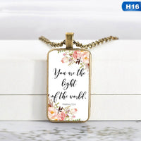 Bible Verse Necklace Rectangle Glass Pendant