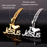 I Love Jesus Heart Pendant & Chain Necklace