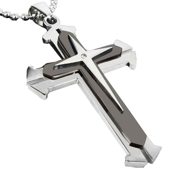 Unisex Men Stainless Steel Cross Necklace with Diamond