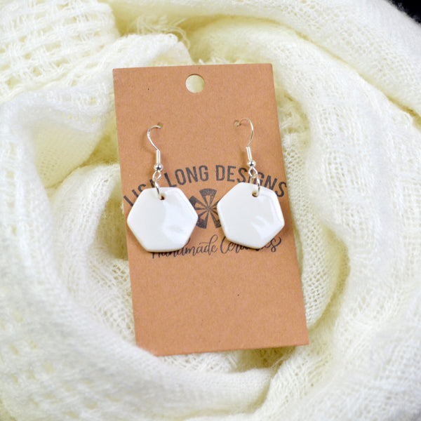 White Porcelain Earrings | Ready-to-Ship