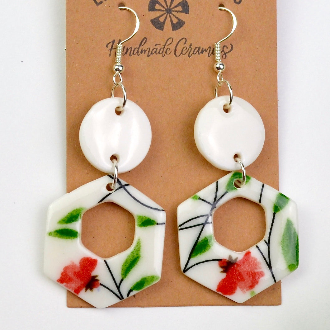Red & Green Floral Earrings | Ready-to-Ship