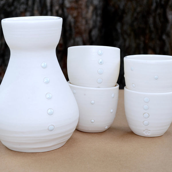 White Porcelain Sake Cup Set | Limited Edition | Ready-to-Ship