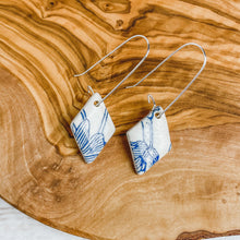 Load image into Gallery viewer, Blue & White Floral Earrings | Drop Hooks | Ready-to-Ship