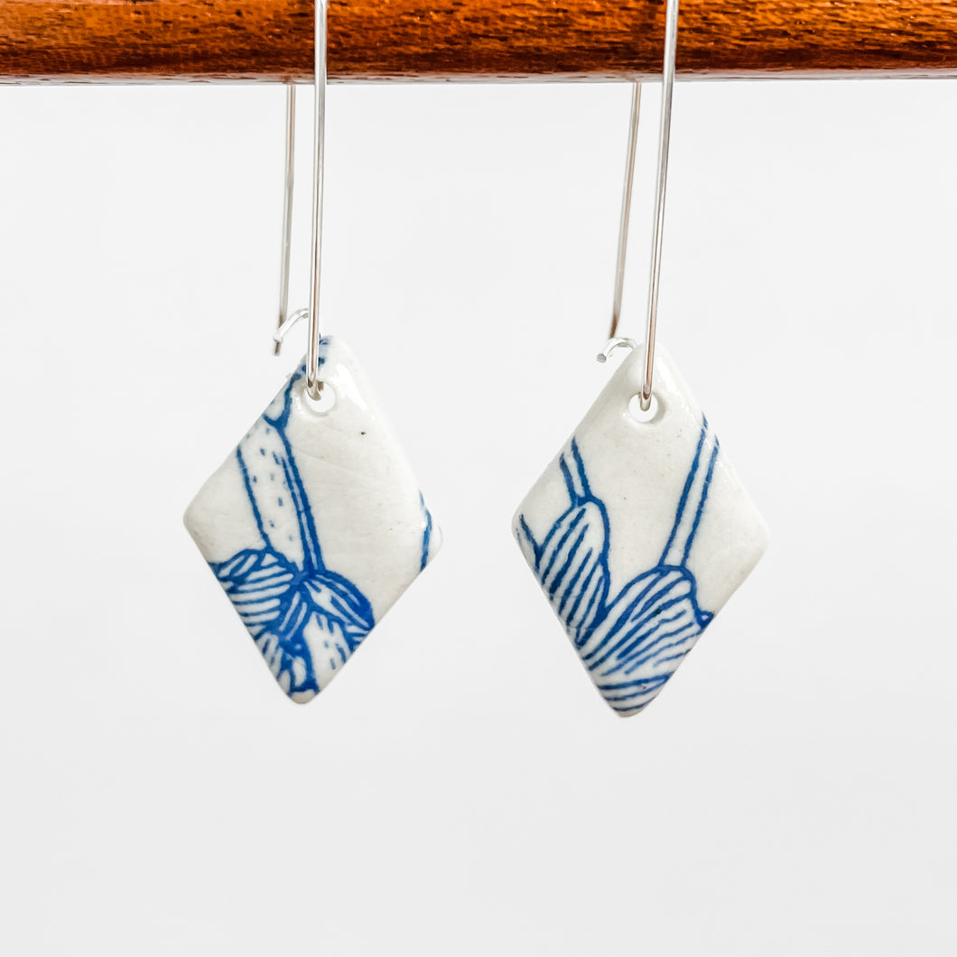 Blue & White Floral Earrings | Drop Hooks | Ready-to-Ship