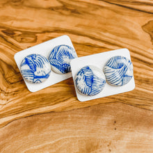 Load image into Gallery viewer, Blue & White Floral Earrings | Studs