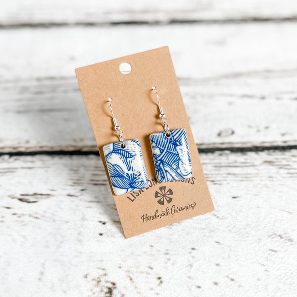 Blue and White Floral Earrings | French Hook | Ready-to-Ship