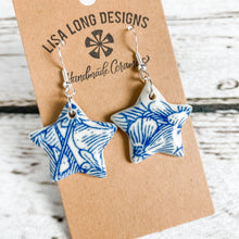 Load image into Gallery viewer, Blue and White Floral Earrings | French Hook | Ready-to-Ship