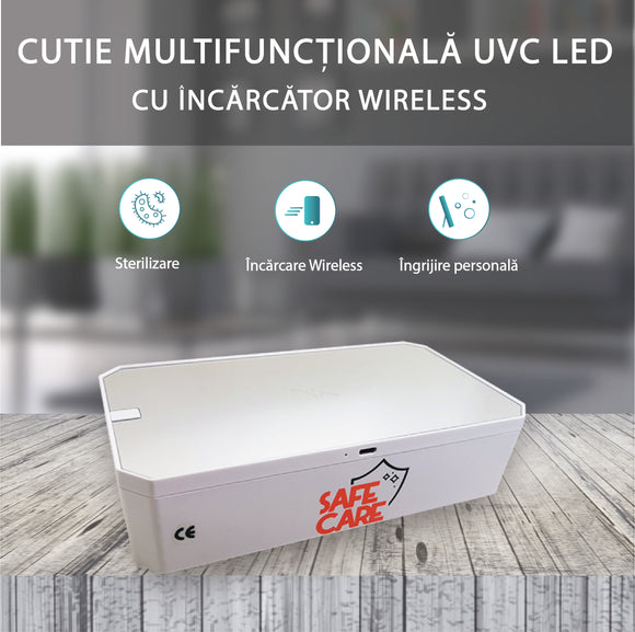 Cutie multifunctionala UVC LED, incarcator wireless, capac detasabil, SFC-2005-B