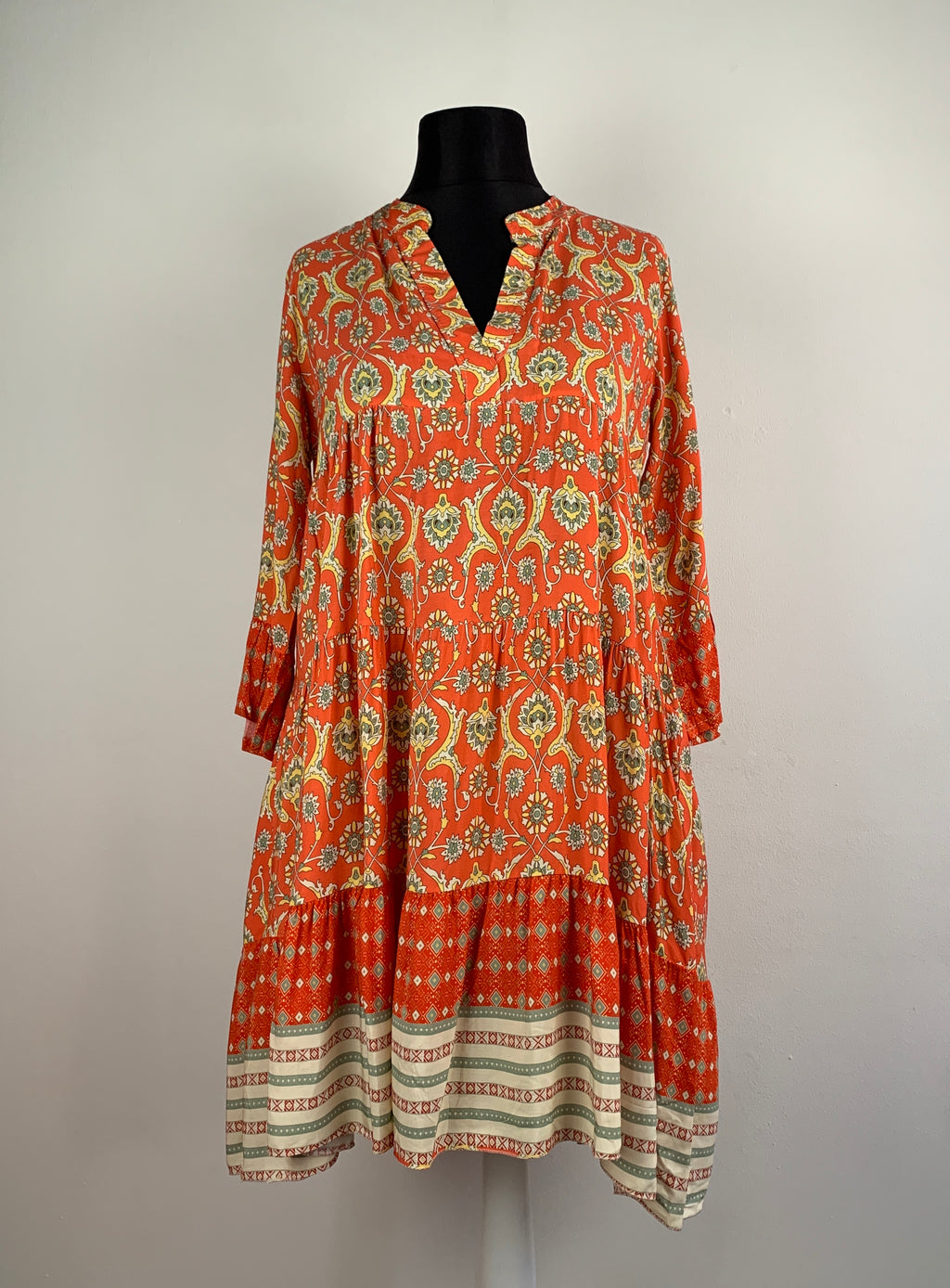 Hängerchenkleid Tunika Kleid Muster Orange Boho