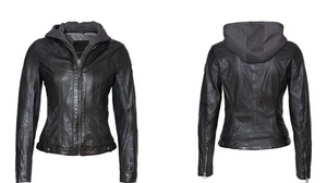 Hooded Leather Jacket with Zip Out Lining