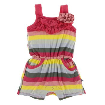 Kickee- Print Flower Romper with Pockets (Biology Stripe)
