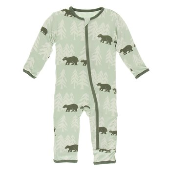 Kickee- Print Coverall with Zipper (Aloe Bears and Treeline)