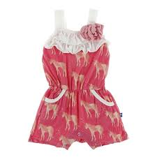 Kickee- Print Flower Romper with Pockets (Red Ginger Unicorns)