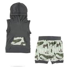 Kickee- Print Short Sleeve Hoodie Tank Outfit (Aloe Endangered Animals)