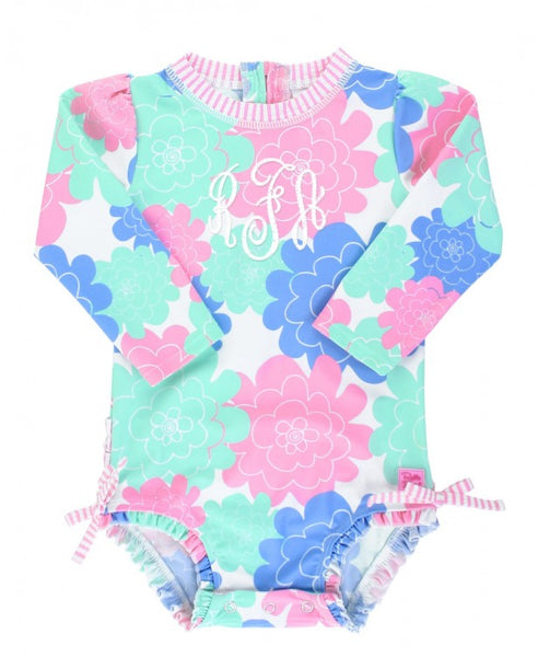 Rufflebutts-Pastel Petals One Piece Rash Guard