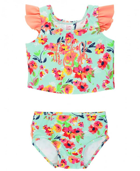 RuffleButts-Painted Flowers Tulip Back Tankini