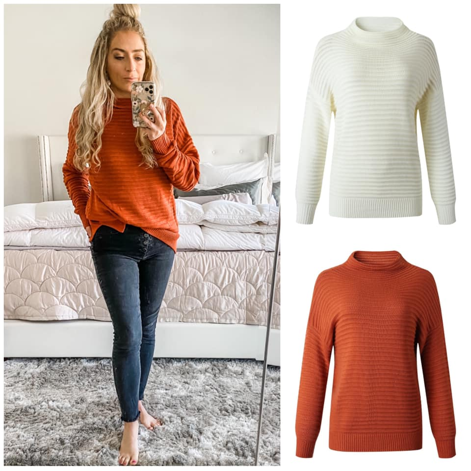 Faux Neck Textured Drop Sleeve Sweater