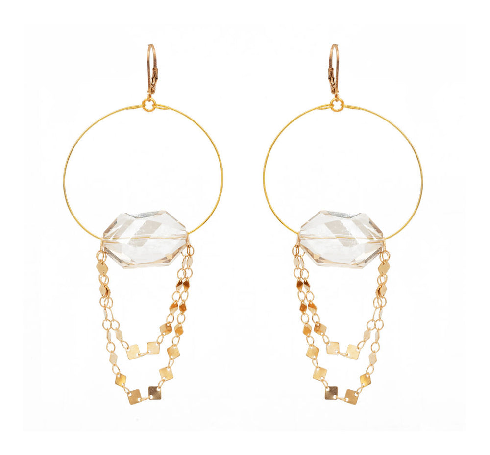 Mia Crystal Drop Hoop Earrings
