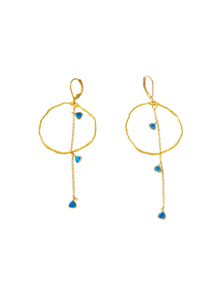 Opal Drop Hoop Earrings