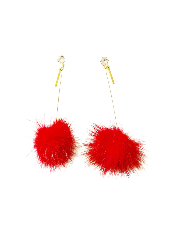 Coco Pom Drop Earrings | Cherry