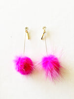 Coco Pom Drop Earrings | Hot Pink