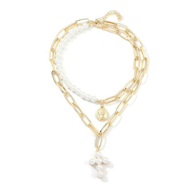 Croix Double Pearl Pendant Necklace